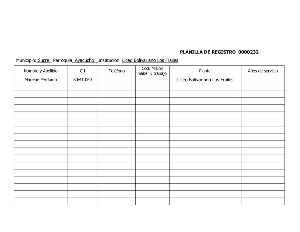 PLANILLA DE REGISTRO 0000232 Municipio: Sucre_ ...