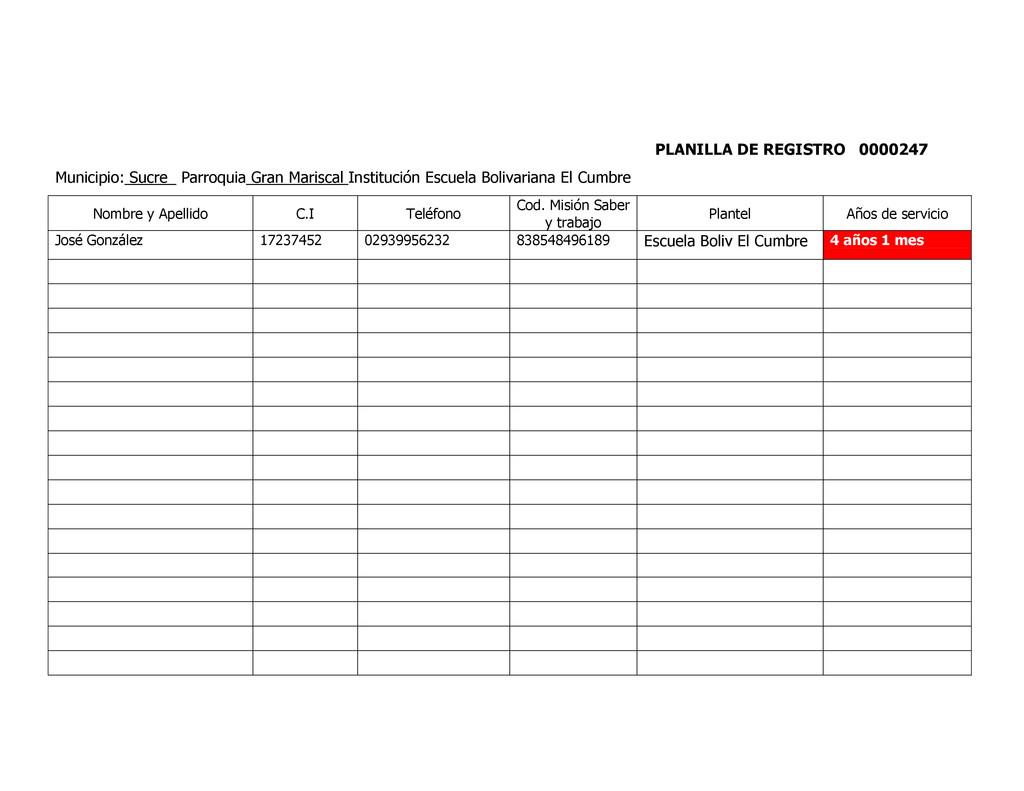 PLANILLA DE REGISTRO 0000247 Municipio: Sucre_ ...
