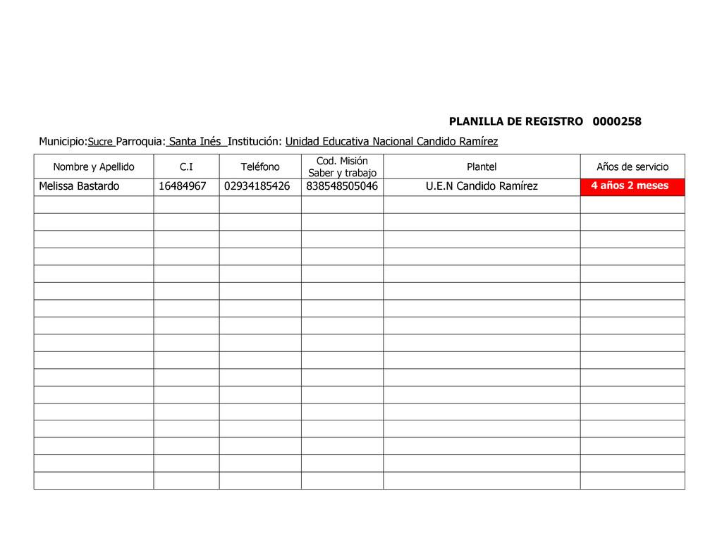PLANILLA DE REGISTRO 0000258 Municipio:Sucre Pa...