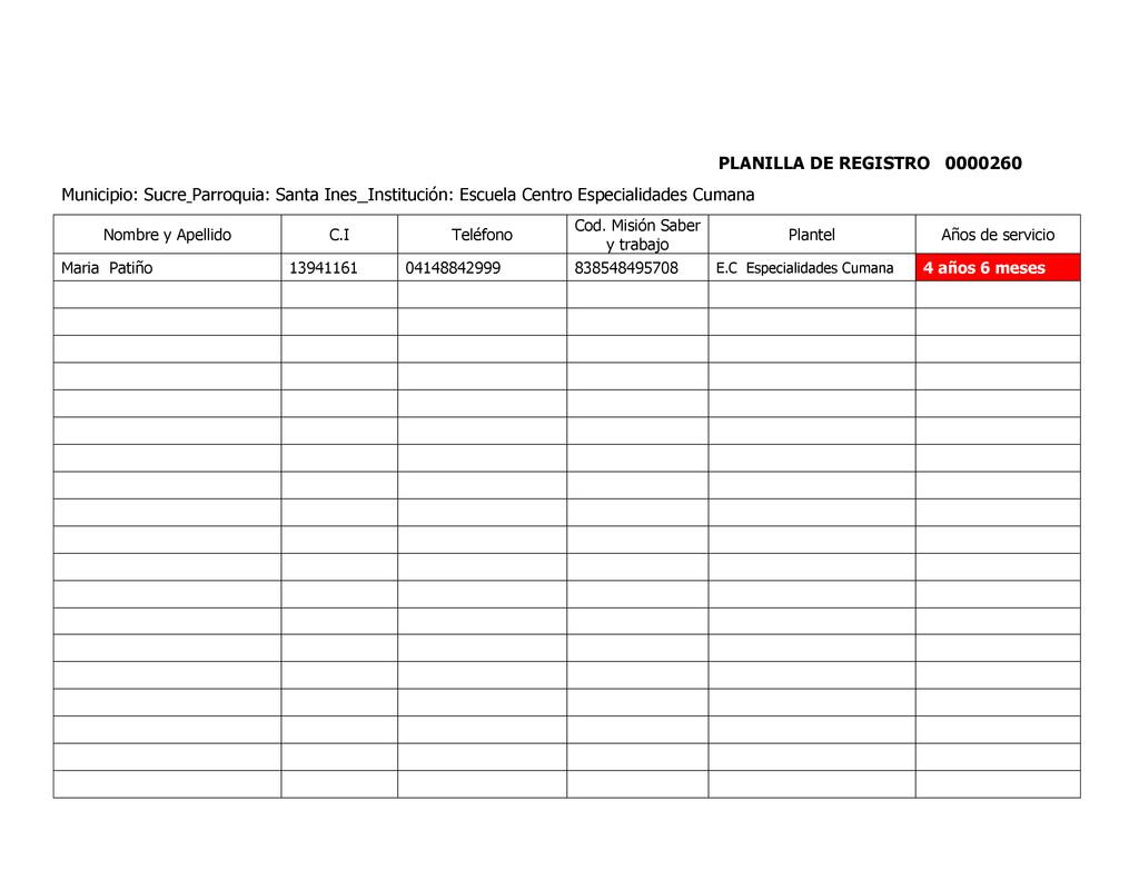 PLANILLA DE REGISTRO 0000260 Municipio: Sucre P...