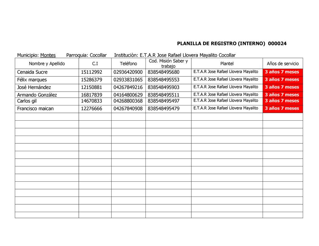 PLANILLA DE REGISTRO (INTERNO) 000024 Municipio...