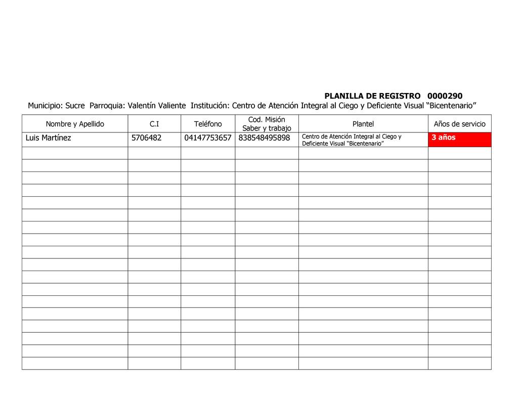 PLANILLA DE REGISTRO 0000290 Municipio: Sucre P...
