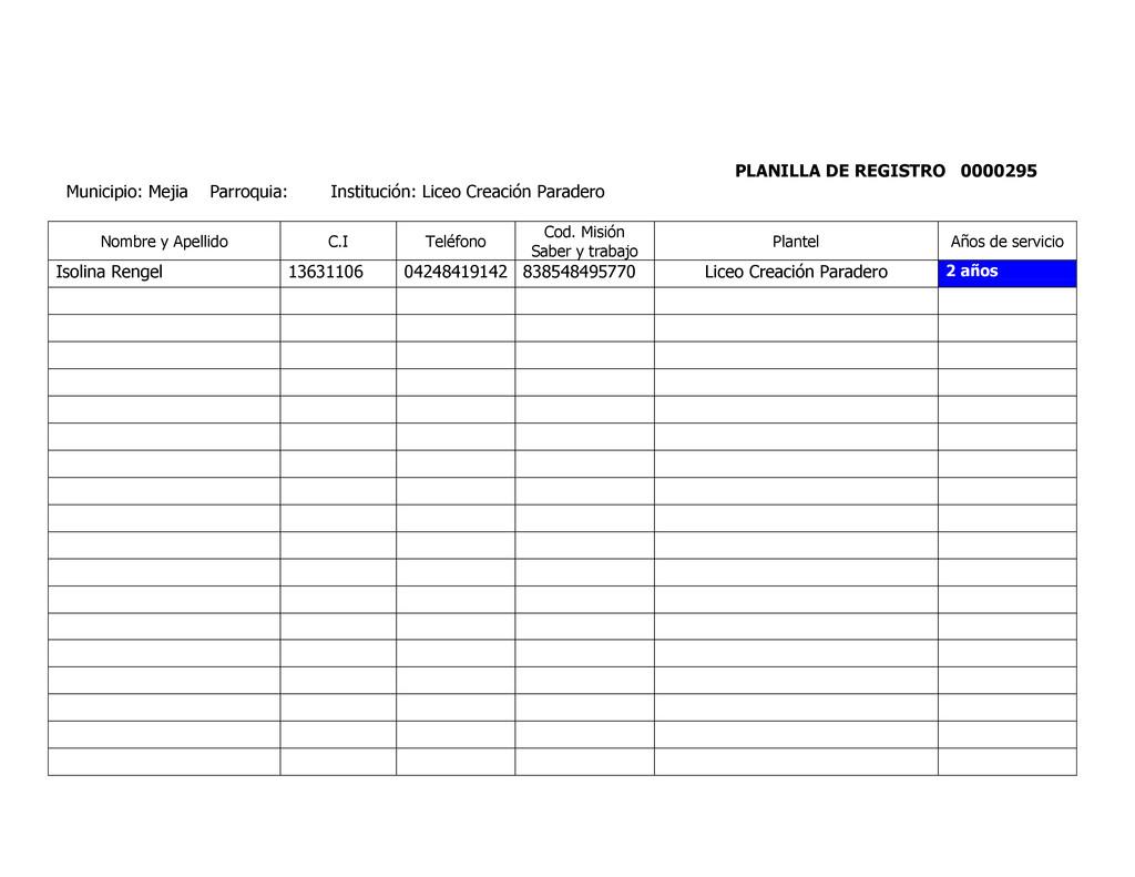 PLANILLA DE REGISTRO 0000295 Municipio: Mejia P...