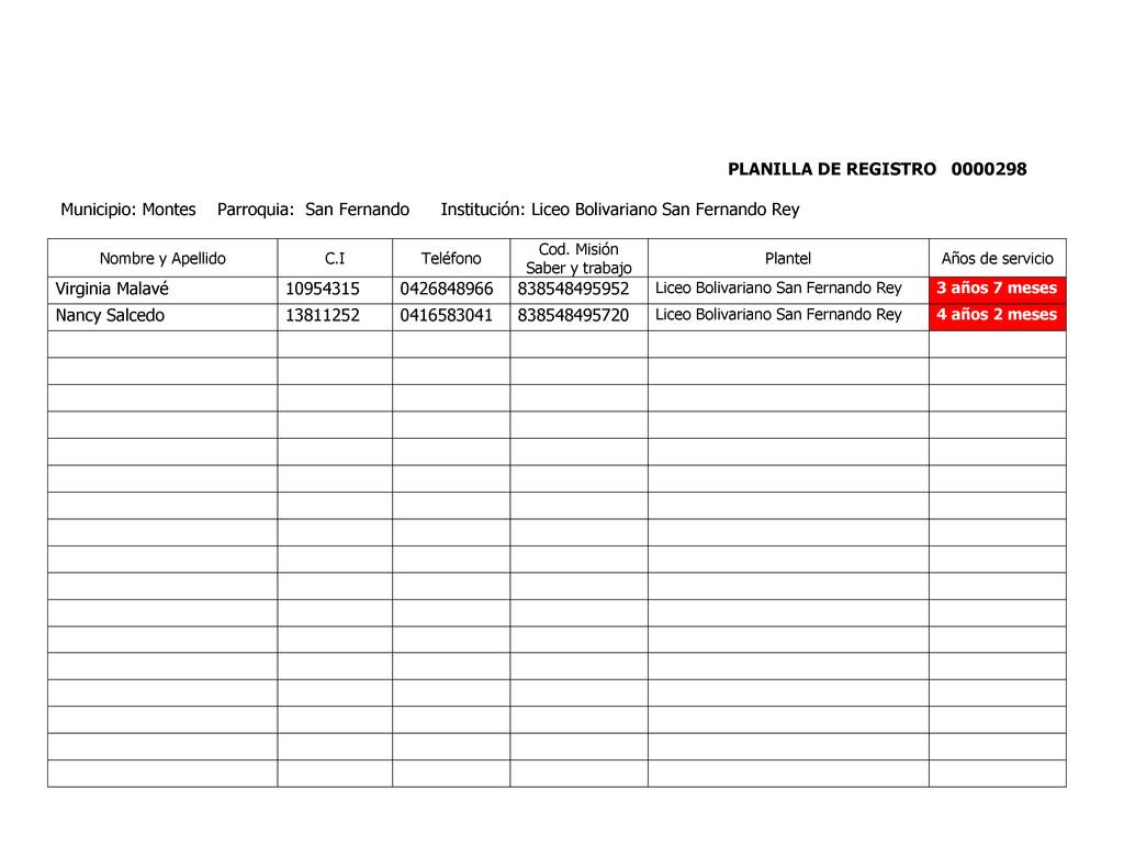 PLANILLA DE REGISTRO 0000298 Municipio: Montes ...