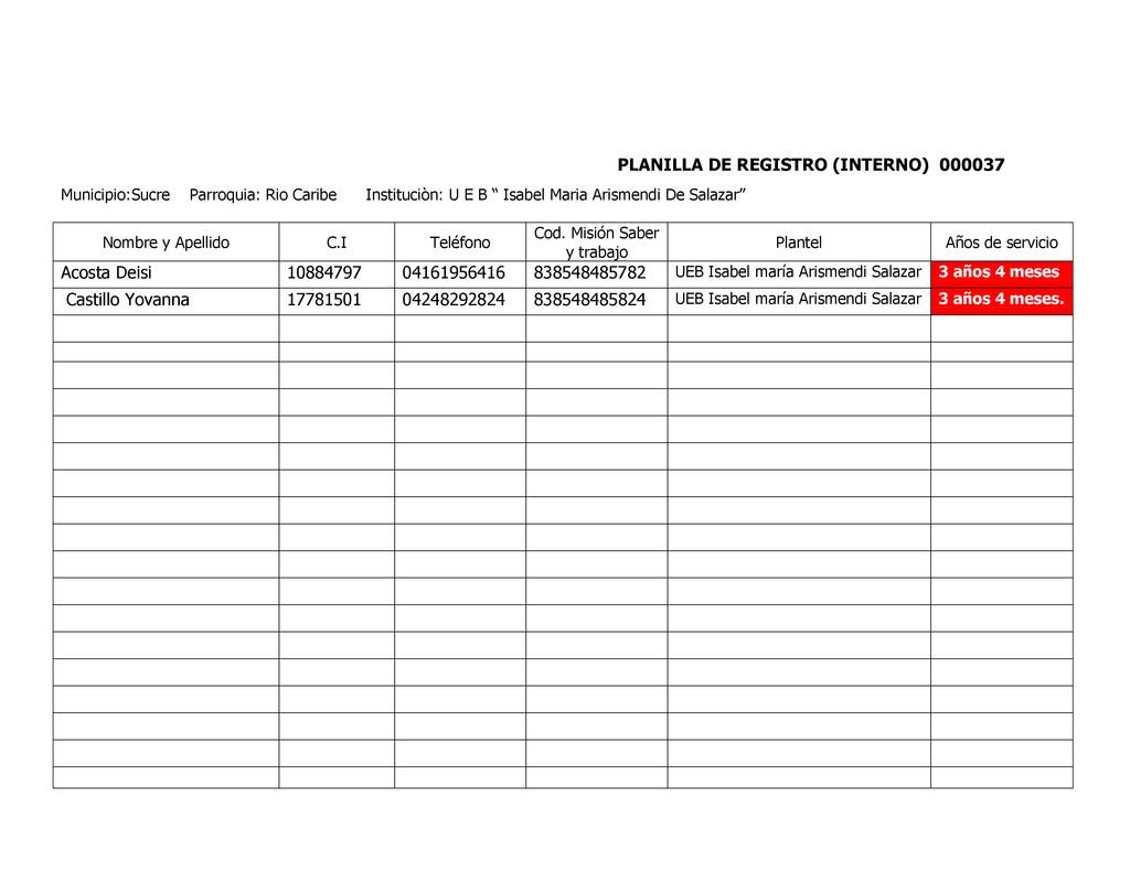 PLANILLA DE REGISTRO (INTERNO) 000037 Municipio...