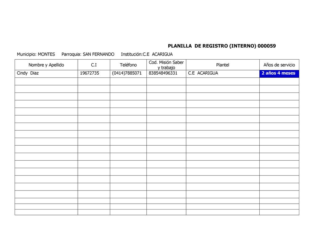 PLANILLA DE REGISTRO (INTERNO) 000059 Municipio...