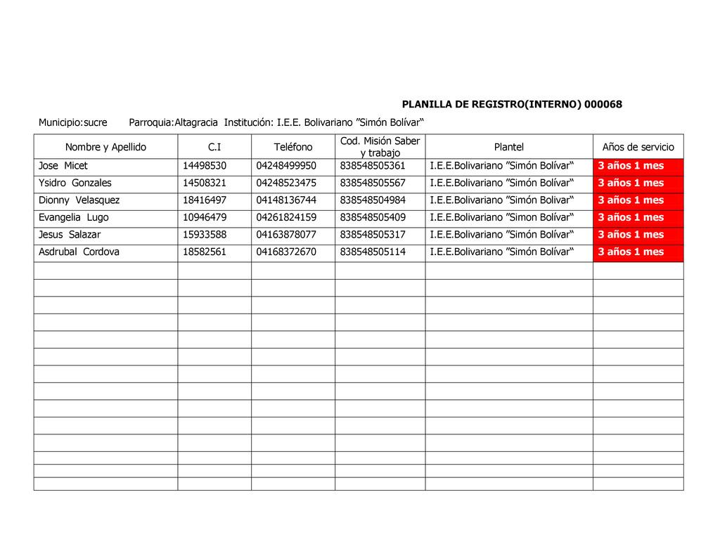 PLANILLA DE REGISTRO(INTERNO) 000068 Municipio:...