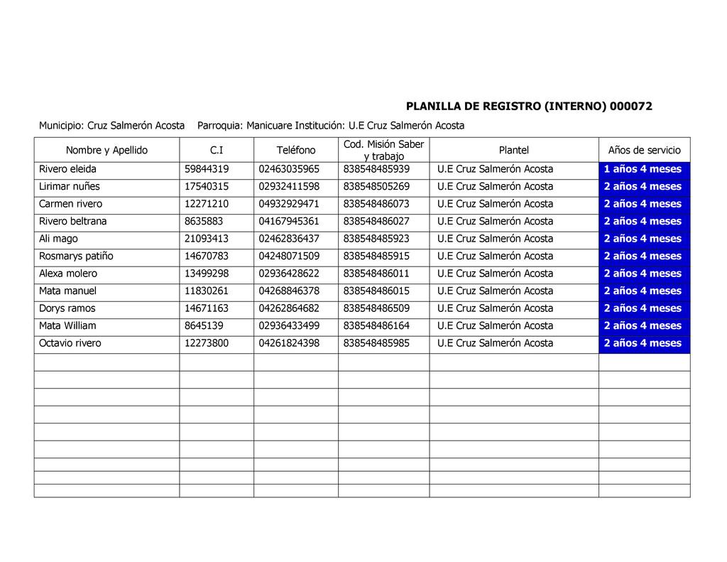 PLANILLA DE REGISTRO (INTERNO) 000072 Municipio...