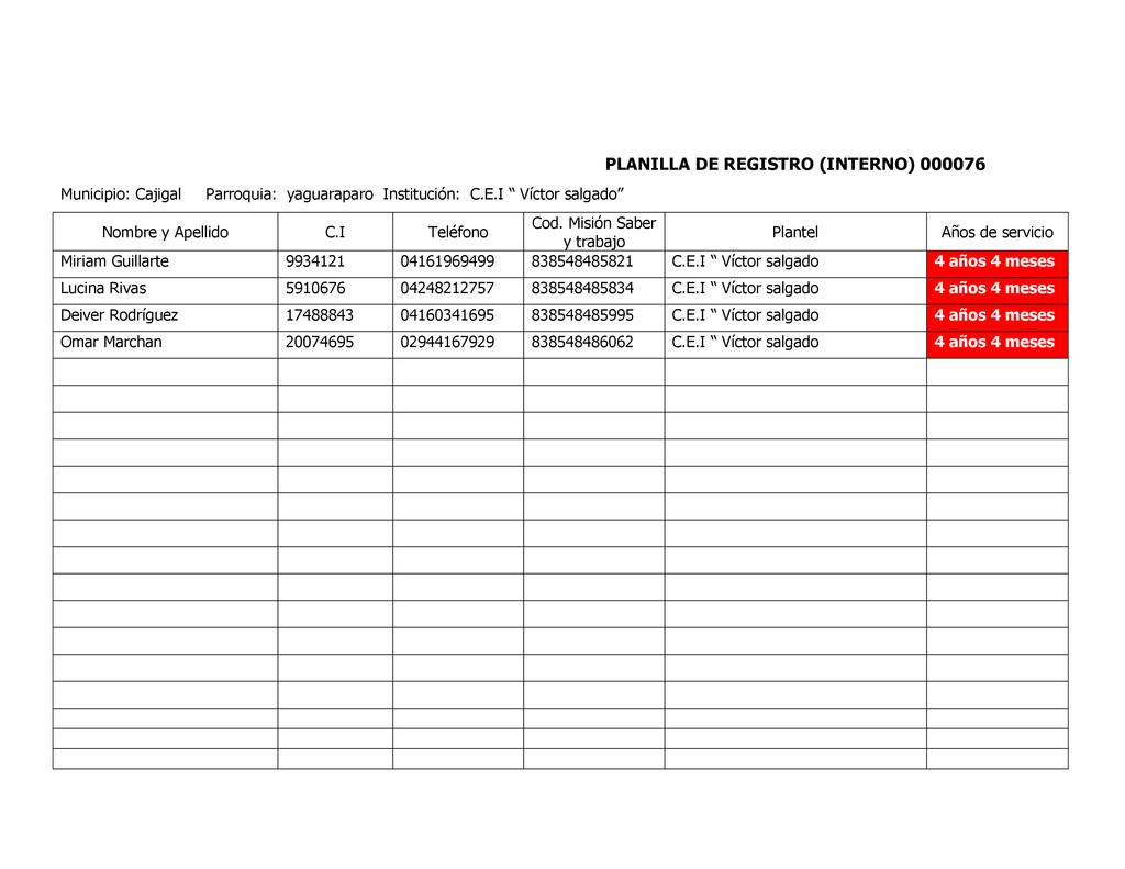 PLANILLA DE REGISTRO (INTERNO) 000076 Municipio...