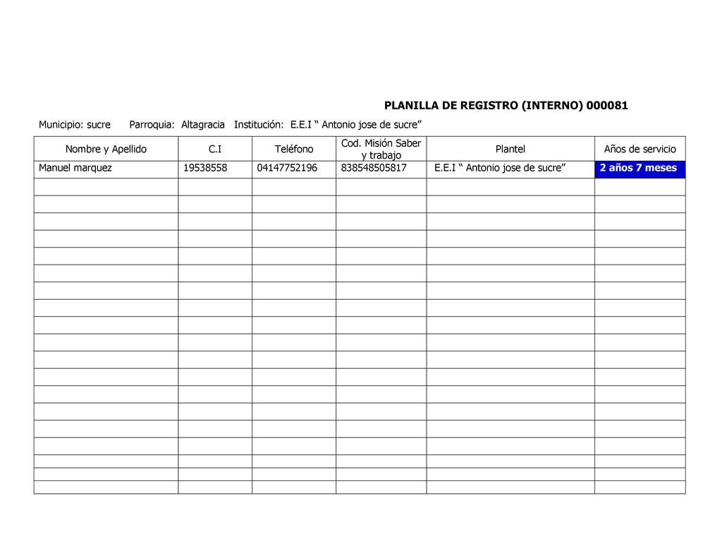 PLANILLA DE REGISTRO (INTERNO) 000081 Municipio...