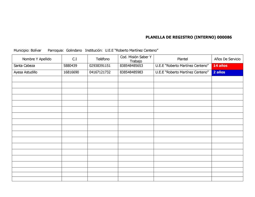 PLANILLA DE REGISTRO (INTERNO) 000086 Municipio...