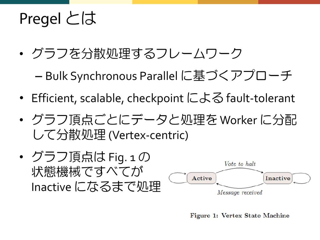 とは • グラフを分散処理するフレームワーク – Bulk Synchronous Paral...
