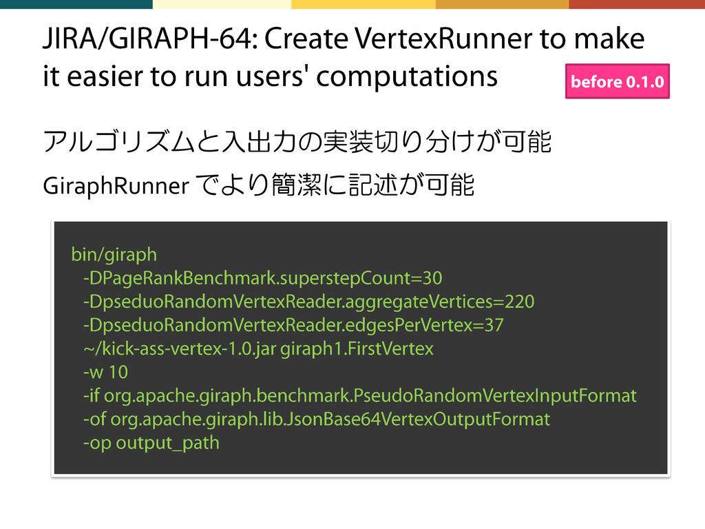 アルゴリズムと入出力の実装切り分けが可能 GiraphRunner でより簡潔に記述が可能