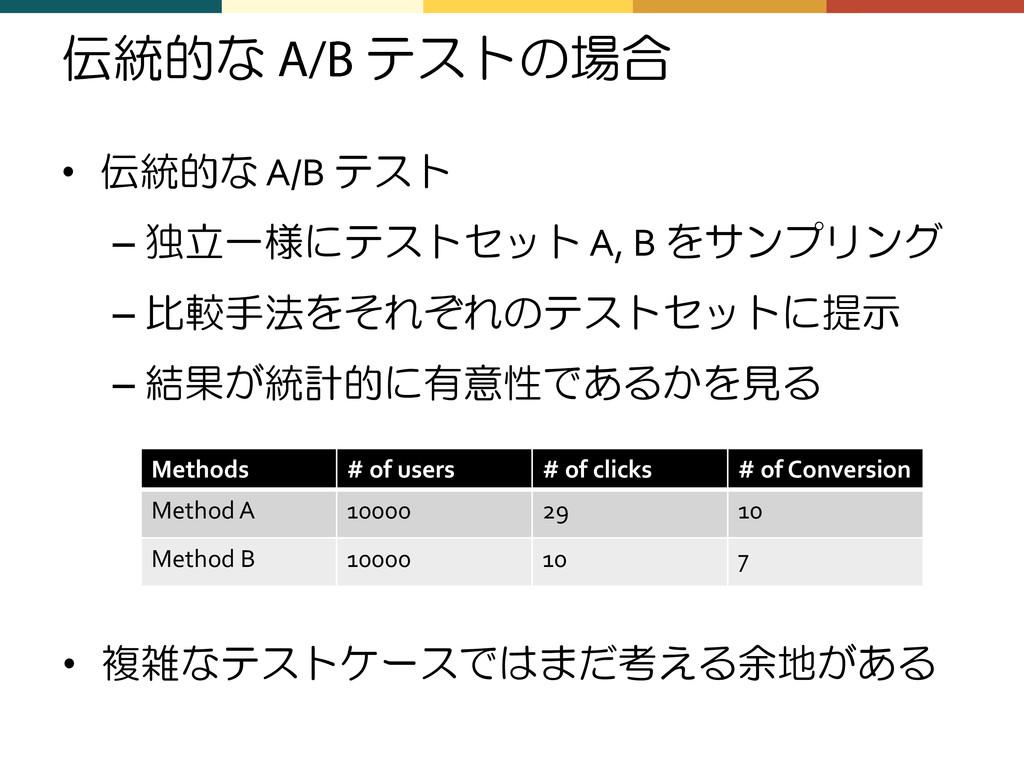 伝統的な テストの場合 • 伝統的な A/B テスト – 独立一様にテストセット A, B を...