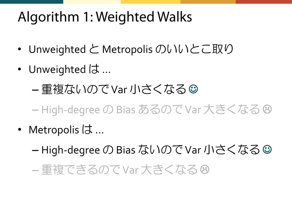 • Unweighted と Metropolis のいいとこ取り • Unweighted ...