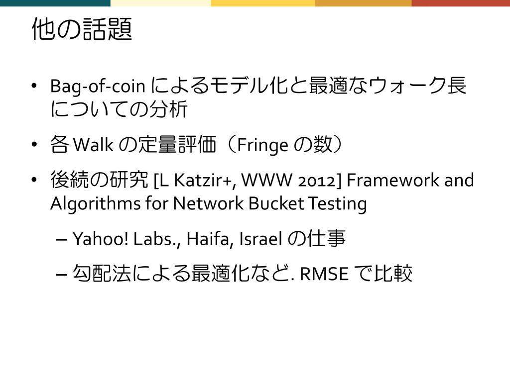 他の話題 • Bag-of-coin によるモデル化と最適なウォーク長 についての分析 • 各...