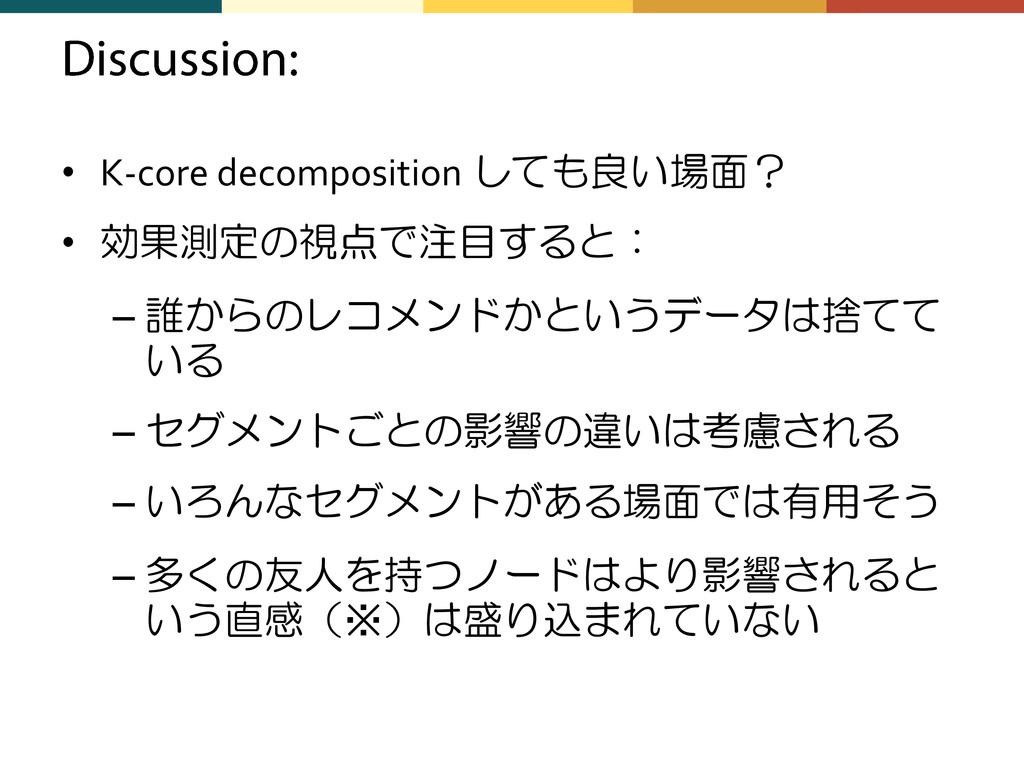 • K-core decomposition しても良い場面? • 効果測定の視点で注目すると...
