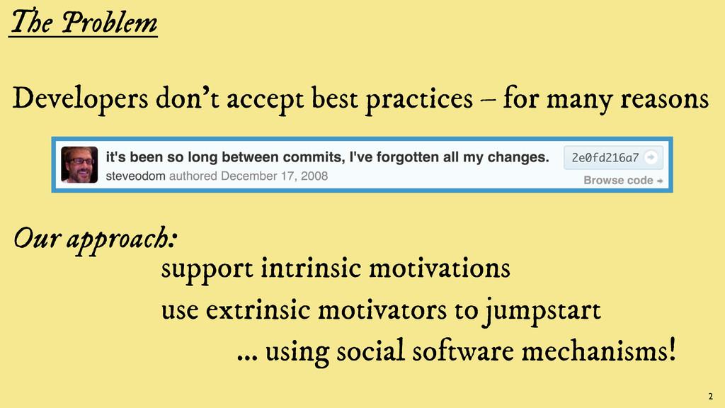 The Problem Developers don't accept best practi...