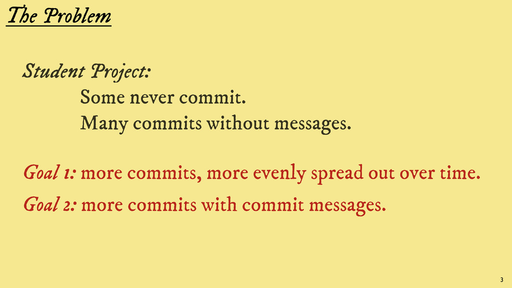 The Problem Student Project: Some never commit....