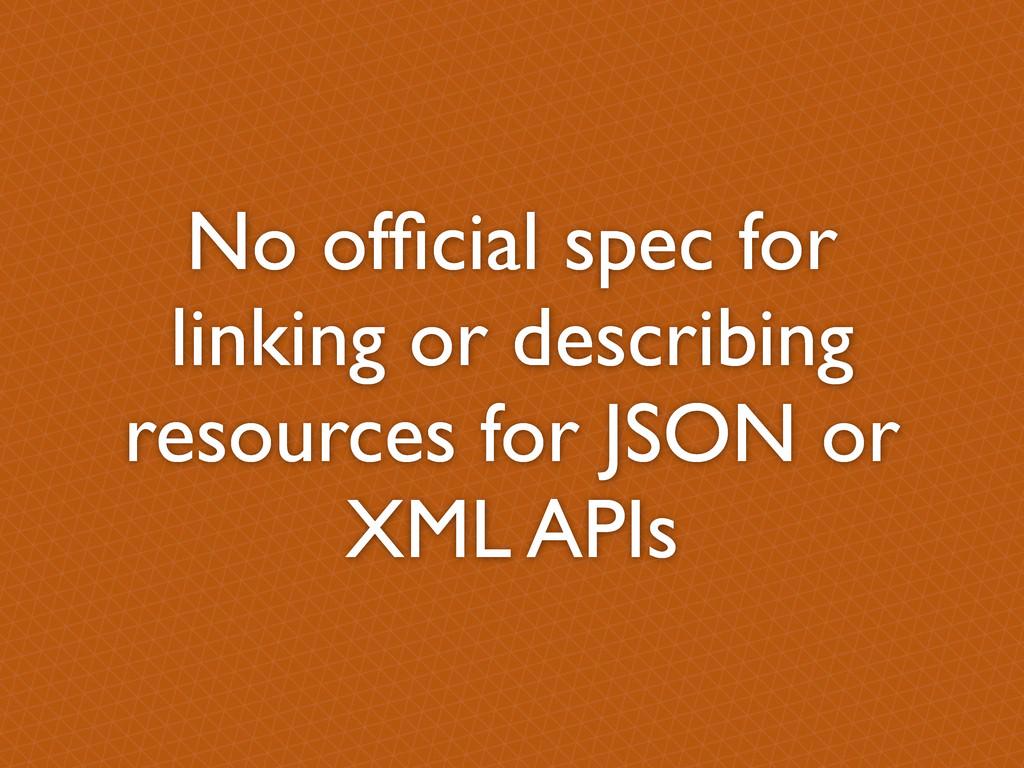 No official spec for linking or describing resou...