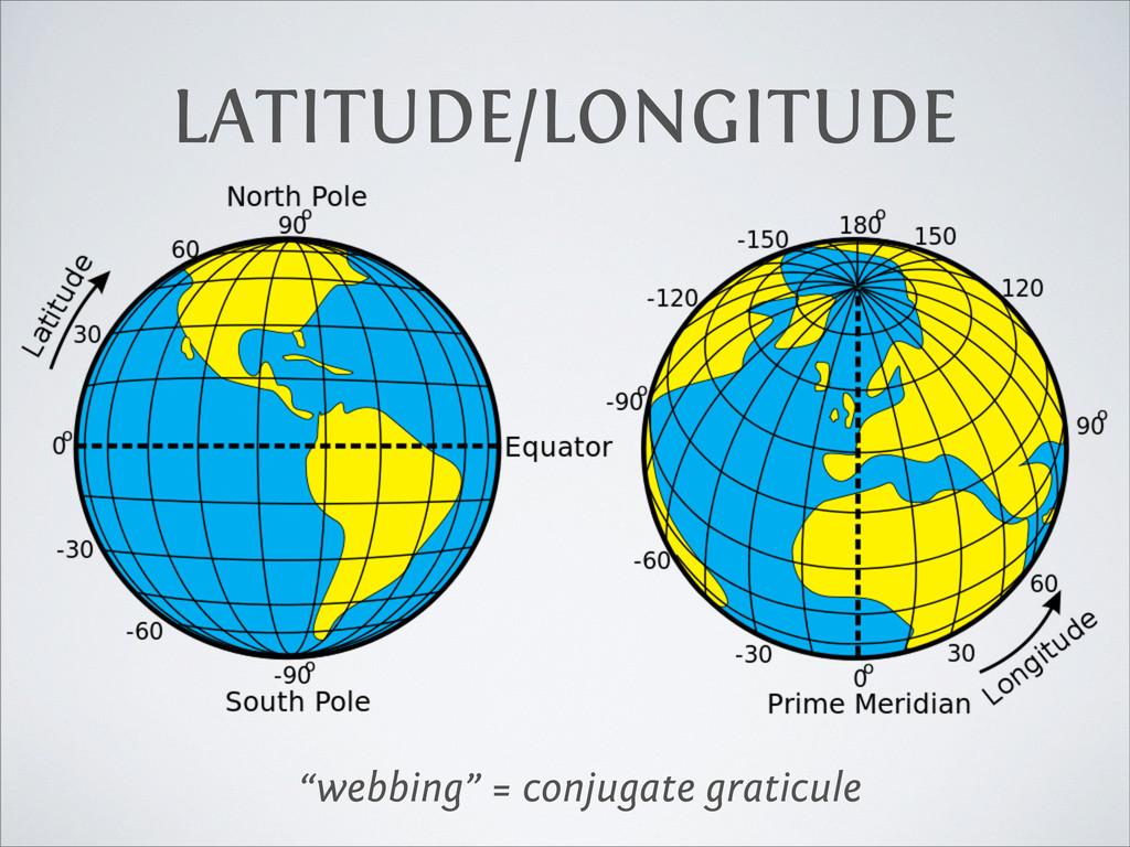 "LATITUDE/LONGITUDE ""webbing"" = conjugate gratic..."