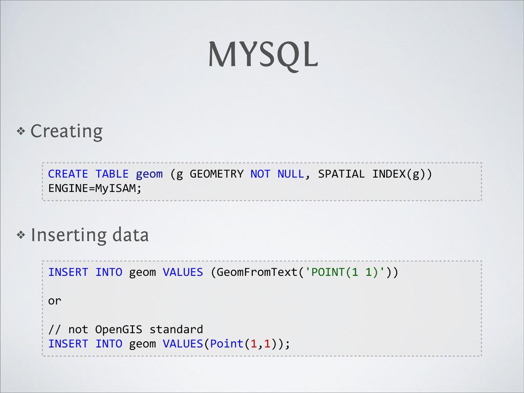 MYSQL ❖ Creating ❖ Inserting data CREATE TABLE...