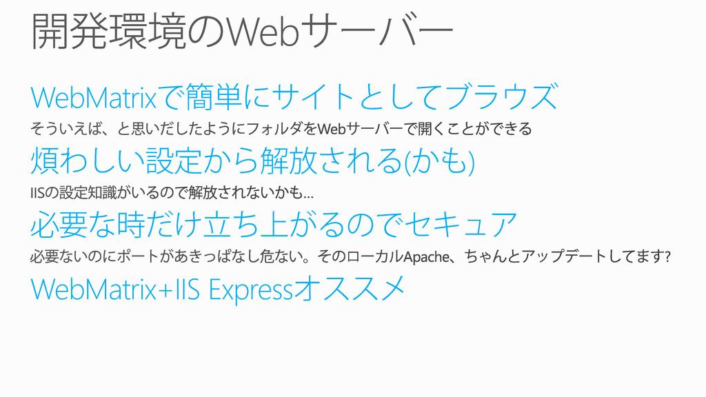 WebMatrix ( ) WebMatrix+IIS Express