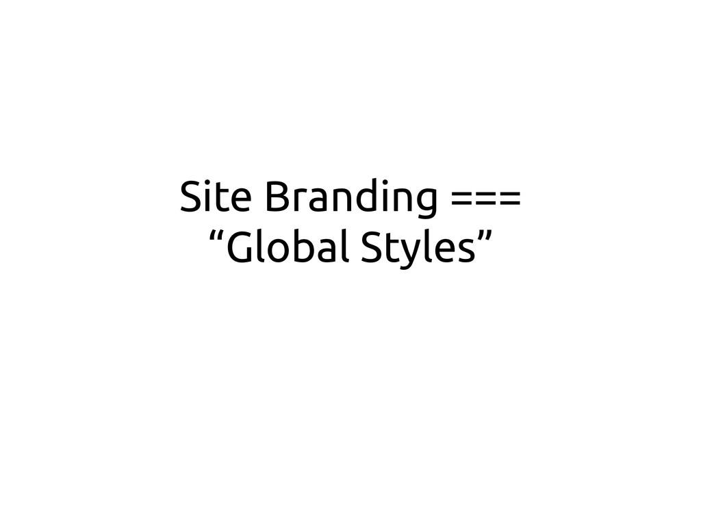 """Site Branding === """"Global Styles"""""""