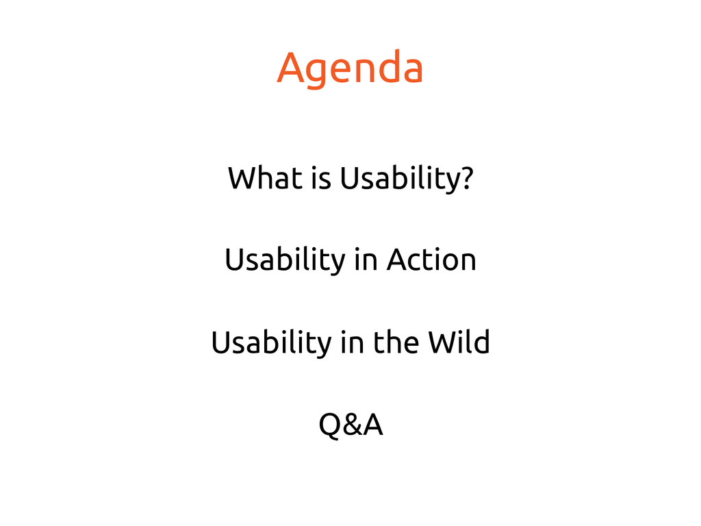 Agenda What is Usability? Usability in Acti...