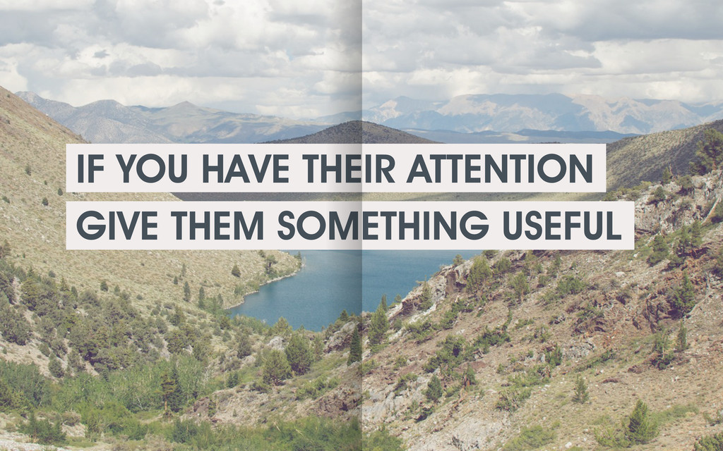 IF YOU HAVE THEIR ATTENTION GIVE THEM SOMETHING...