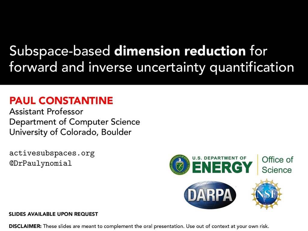 Subspace-based dimension reduction for forward ...