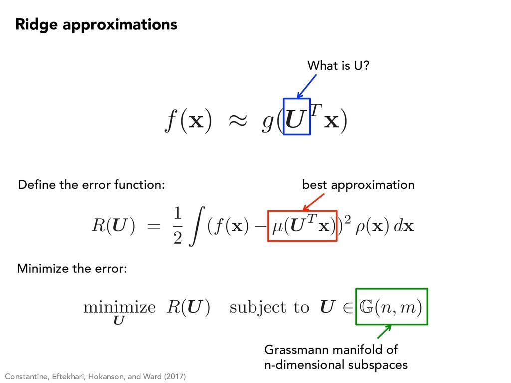 f( x ) ⇡ g(UT x ) What is U? Define the error f...