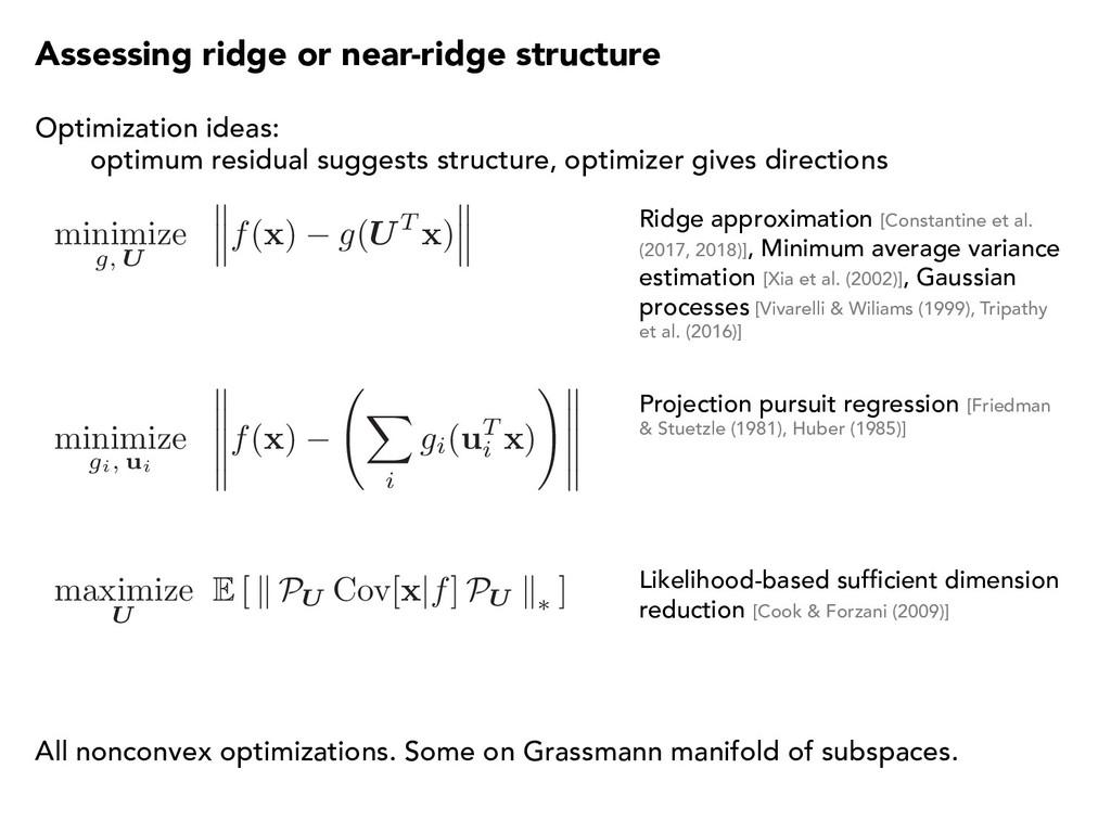 minimize g, U f( x ) g(UT x ) Assessing ridge o...