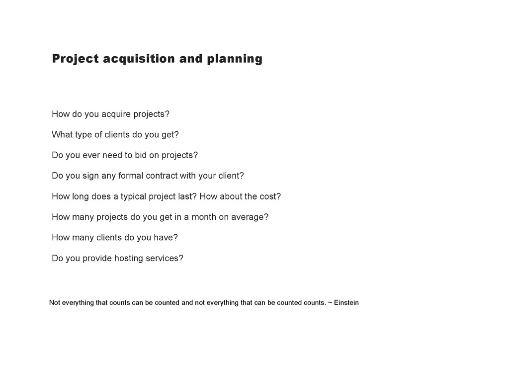 Project acquisition and planning How do you acq...