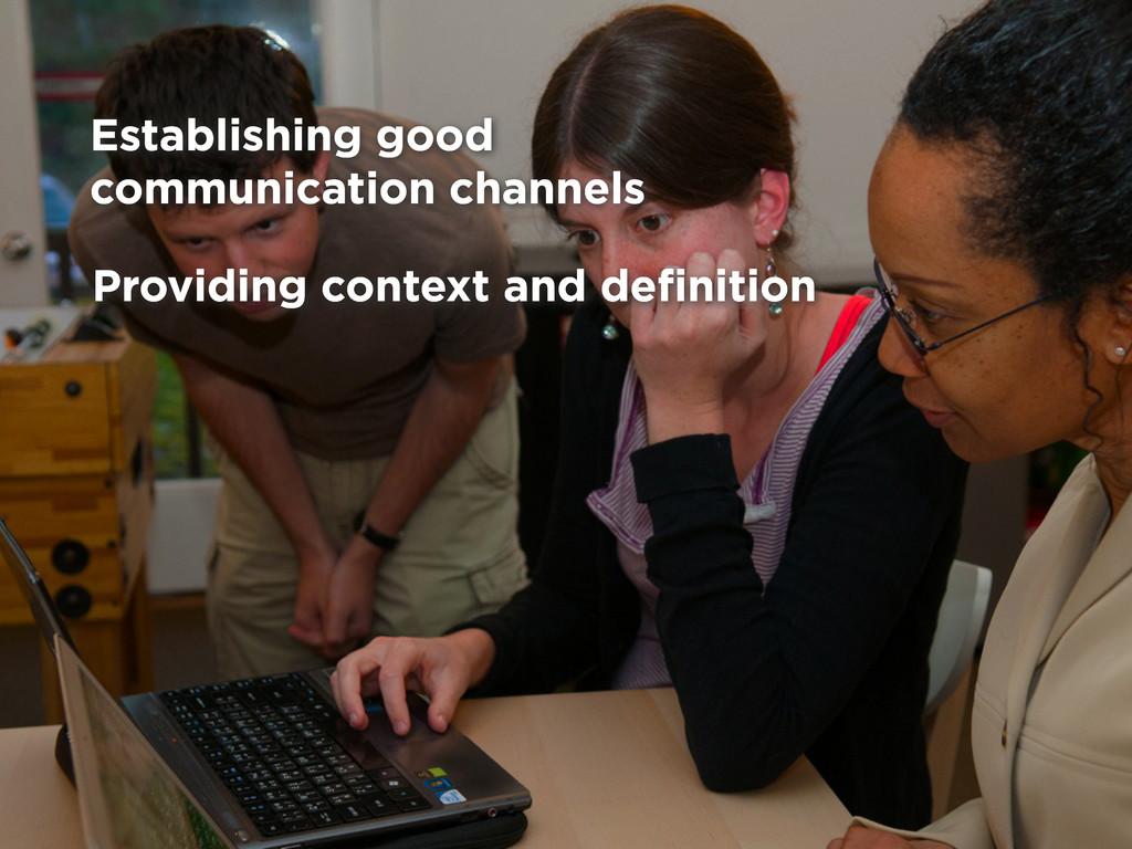 Providing context and definition Establishing go...