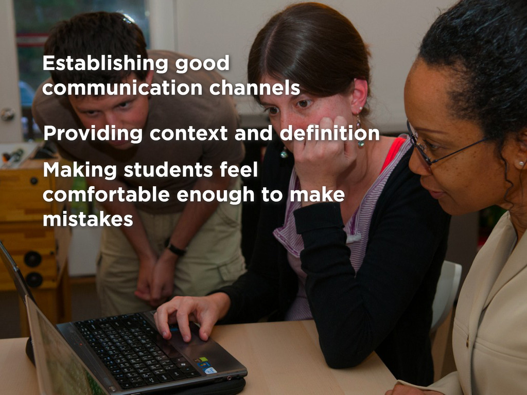 Providing context and definition Making students...