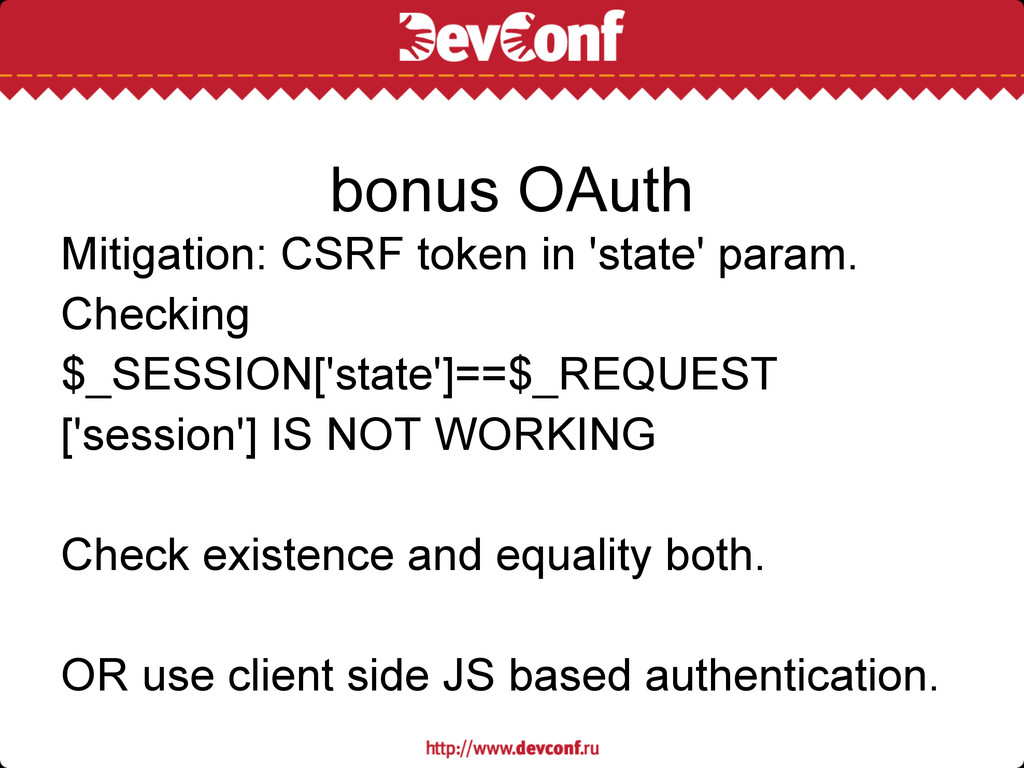 Mitigation: CSRF token in 'state' param. Checki...