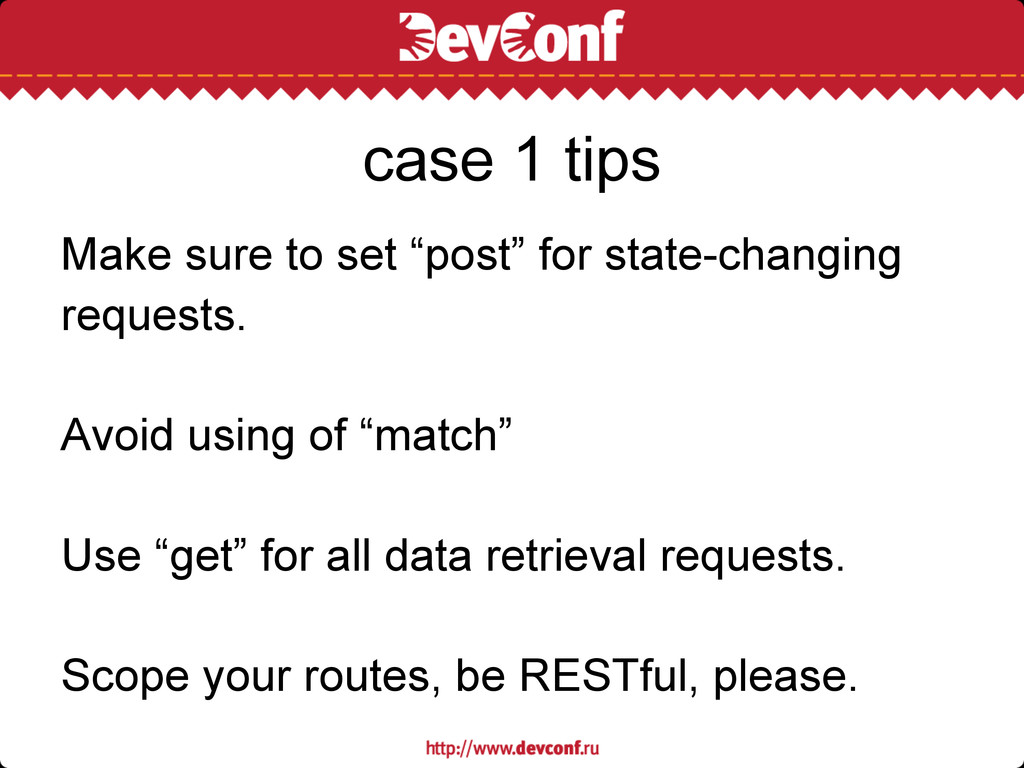"Make sure to set ""post"" for state-changing requ..."