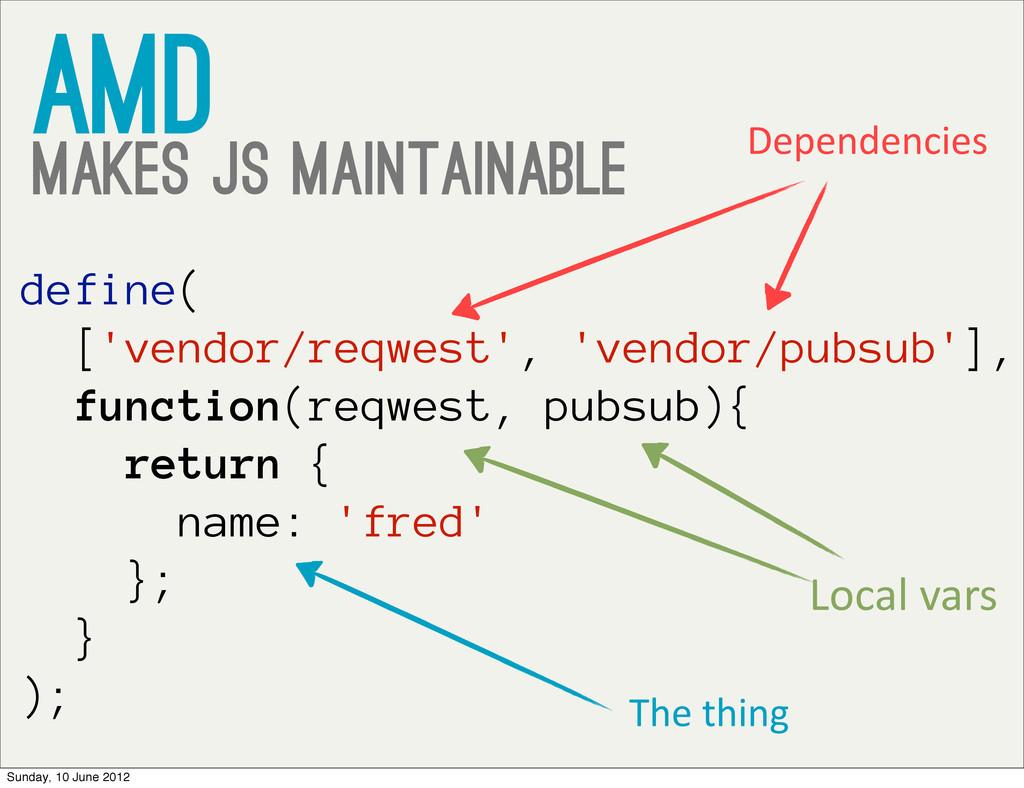 AMD Makes JS Maintainable define( ['vendor/reqw...