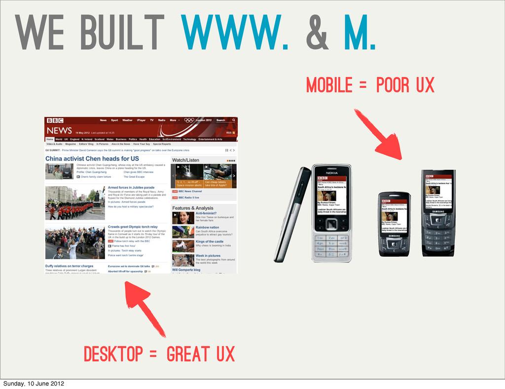 we built www. & m. desktop =Great UX mobile =po...
