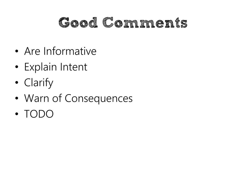 Good Comments • Are Informative • Explain Inten...