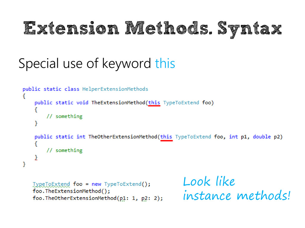 Extension Methods. Syntax Special use of keywor...