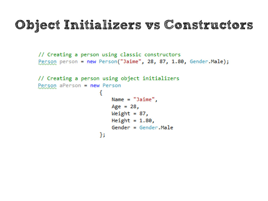 Object Initializers vs Constructors