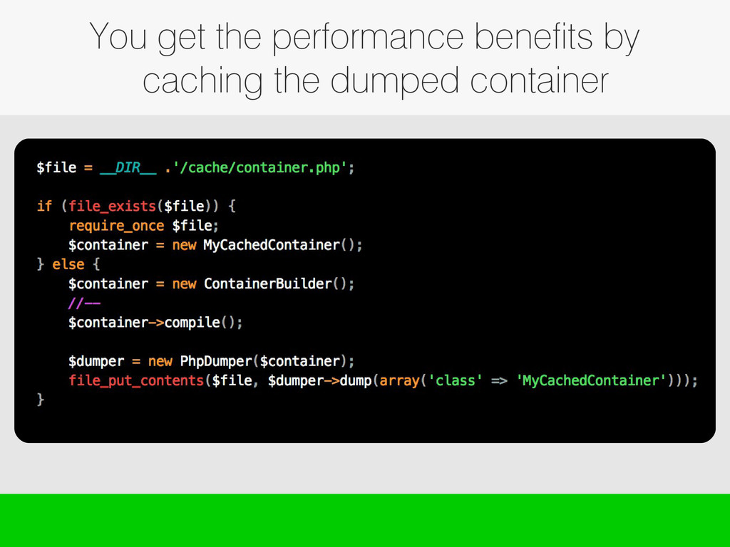 You get the performance benefits by caching the...