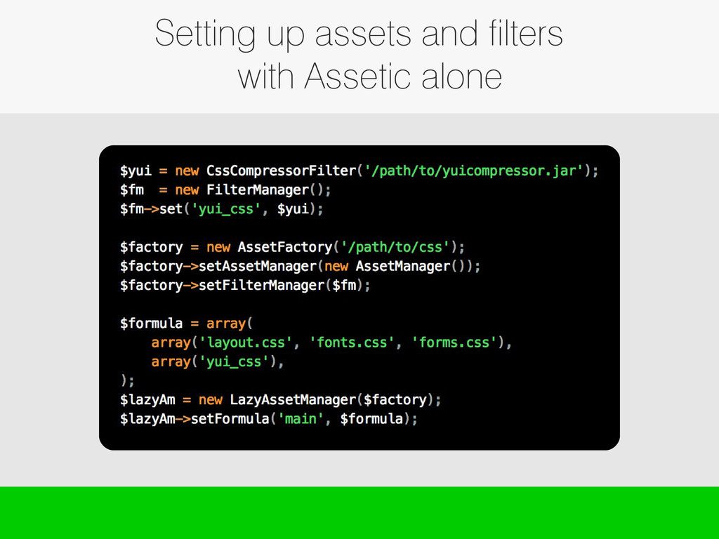 Setting up assets and filters with Assetic alone