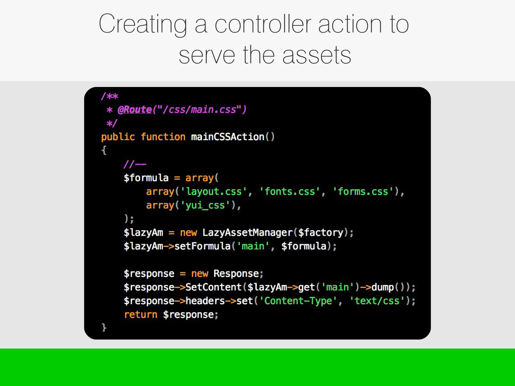 Creating a controller action to serve the assets