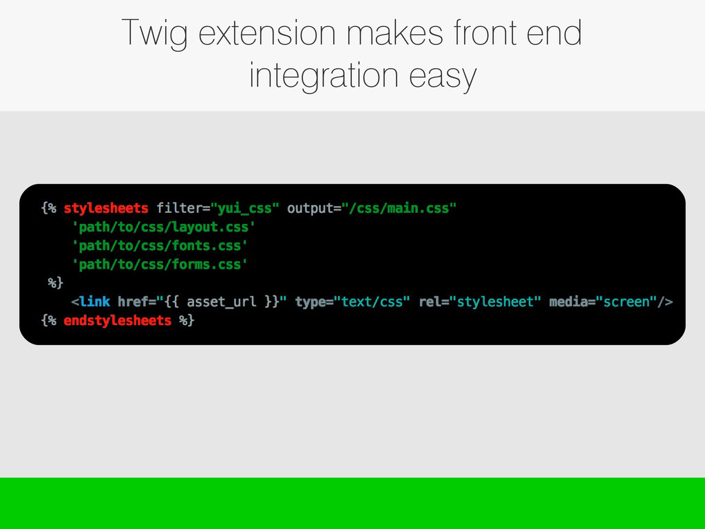 Twig extension makes front end integration easy