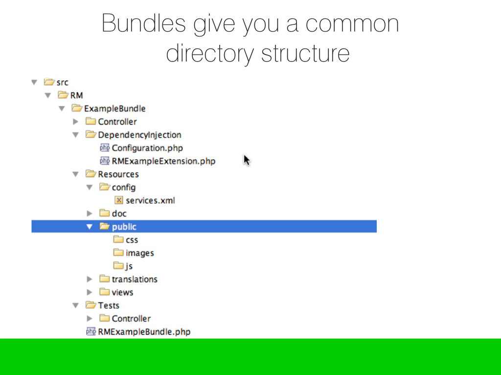 Bundles give you a common directory structure