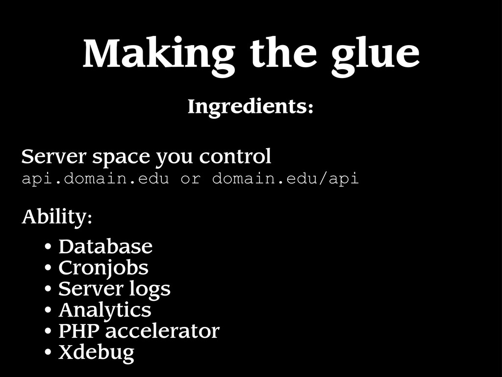 Making the glue Server space you control api.do...