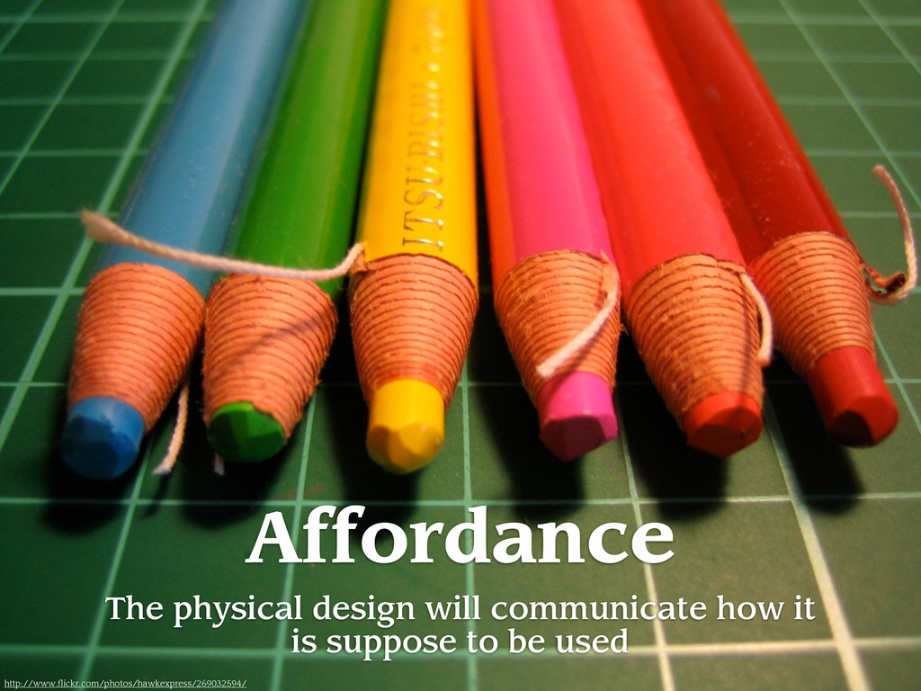 Affordance The physical design will communicate...